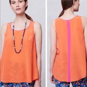 Anthropologie Maeve Orange & Pink Silk Piped Top 4